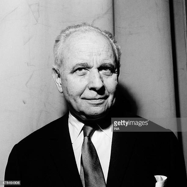 The writer Louis Aragon in the studios of the Maison de la Radio for a poetic evening