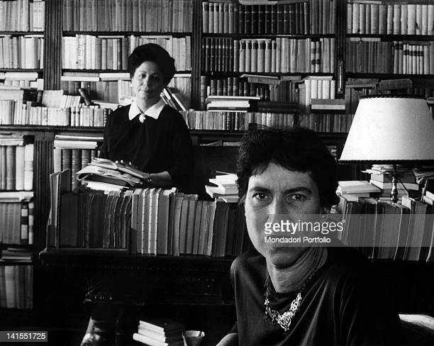 The writer Natalia Ginzburg, a winner of the Strega Prize, and Maria Bellonci. Rome, 1963