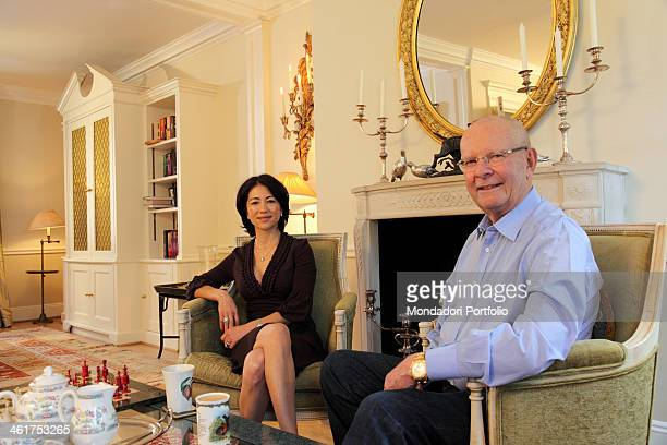 The writer Wilbur Smith and his wife Mokhiniso Rakhimova photo shooted at home in the borough of Kensington in London London Great Britain 1st April...