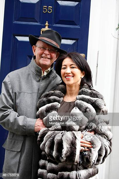 The writer Wilbur Smith and his wife Mokhiniso Rakhimova photo shooted outside their home in the borough of Kensington in London London Great Britain...