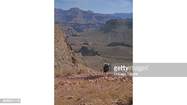 The writer's brotherinlaw Dr Francis 'Rocky' Kane of Bettendorf Iowa assesses the next set of switchbacks down the South Kaibab Trail