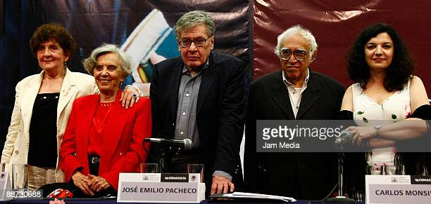 The writers Margo Glantz Elena Pniatowska Jose Emilio Pacheco during Pacheco's tribute at Bellas Artes Palace on June 28 2009 in Mexico City Mexico