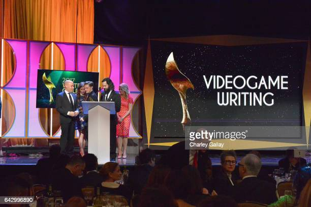 The Writers of 'Uncharted 4 A Thief's End' accept the Outstanding Achievement In Videogame Writing Award onstage during the 2017 Writers Guild Awards...