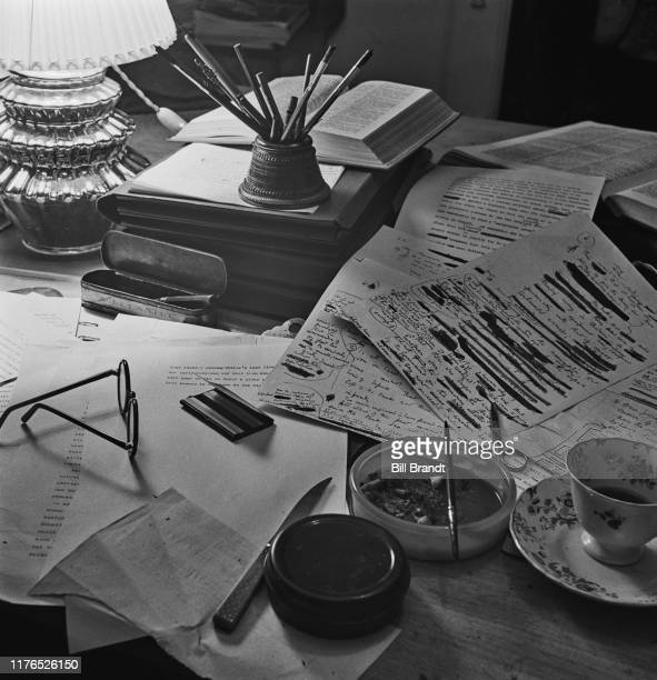 The writing desk and papers of English poet novelist essayist and critic Robert von Ranke Graves at Vale House his home in Galmpton near Brixham...