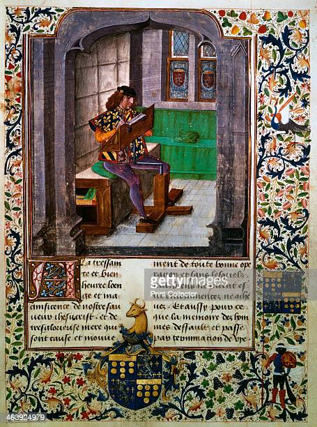 The writing of Jacques Lalain's biography 15th century Illustration from Chronique des faits du noble et vaillant chevalier messire Jacques Lalain...