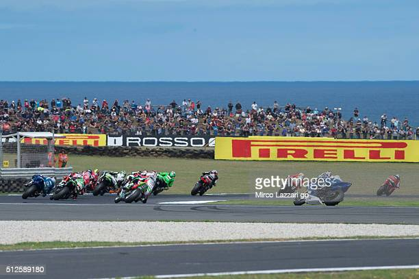 The WSBK riders round the bend during the WSBK Race 1 during qualifying for round one of the 2016 World Superbike Championship at Phillip Island...