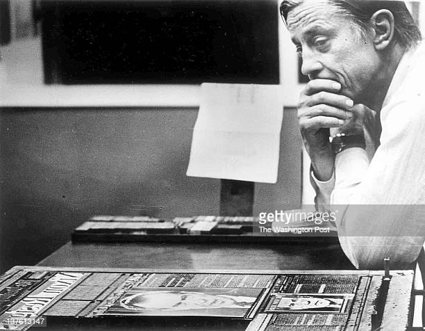 The Wshington Post's Ben Bradlee in the composing room looking at A1 of the first edition headlined 'Nixon Resigns'