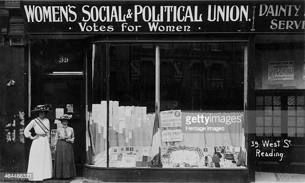 The WSPU shop at No 39 West St Reading Berkshire July 1910 The window contains a poster with details of the march to Hyde Park on July 23rd Miss...