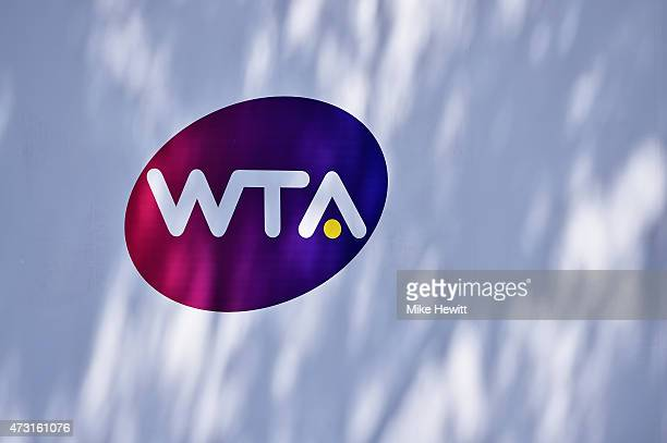 The WTA logo outside the Grandstand court on Day Four of The Internazionali BNL d'Italia 2015 at the Foro Italico on May 13, 2015 in Rome, Italy.