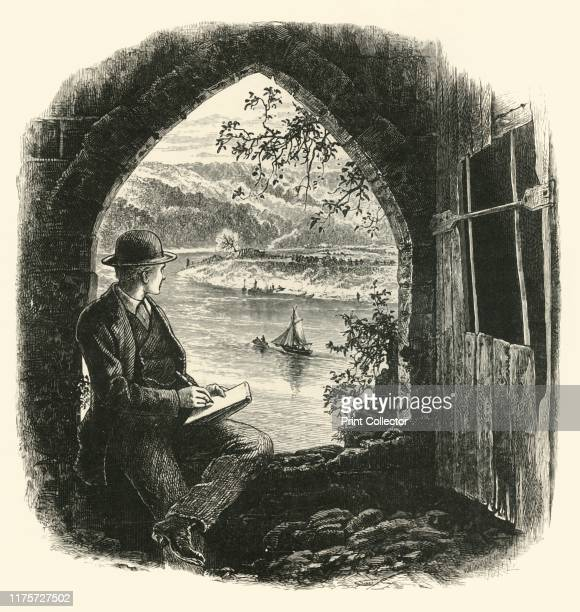 The Wye from Chepstow Castle 1870s A man sketching the River Wye in Monmouthshire Wales Chepstow Castle is the oldest surviving postRoman stone...