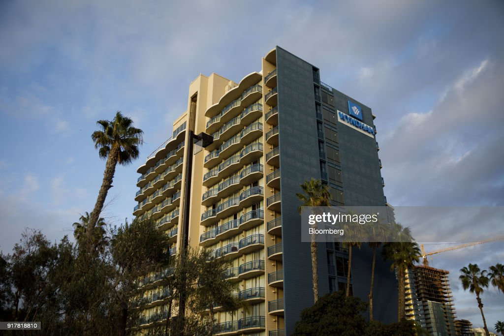 The Wyndham San Diego Bayside hotel stands in San Diego, California, U.S., on Sunday, Feb. 11, 2018. Wyndham Worldwide Corp. is scheduled to release earnings figures on February 14. Photographer: Patrick T. Fallon/Bloomberg via Getty Images