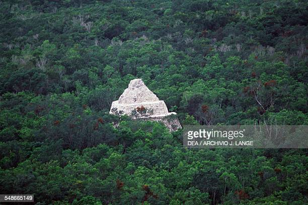 The Xaibe pyramid surrounded by tropical forest Coba Quintana Roo Mexico Mayan civilisation 6th10th century