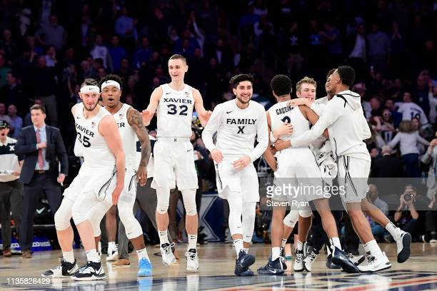 The Xavier Musketeers celebrate their 6361 win over the Creighton Bluejays during the Quarterfinals of the 2019 Big East men's basketball tournament...