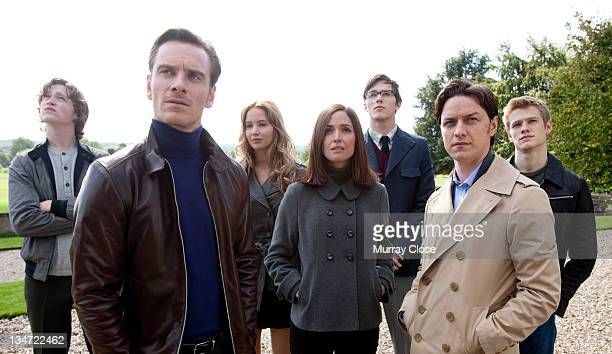 The XMen survey the XMansion in a scene from the film 'XMen First Class' 2011 From left to right actors Caleb Landry Jones Michael Fassbender...