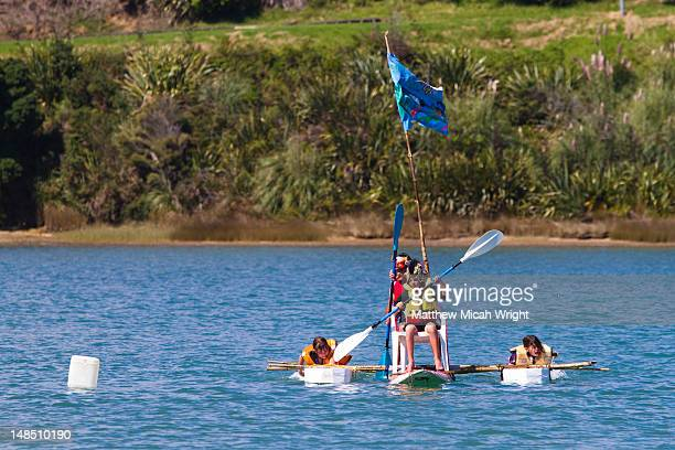 the x-treme waste recycle raft race at te kopua domain in raglan. plastic containers, rubber tubes and sails of all descriptions bobbed their way up-harbour and battled to the finish line. - public domain stock pictures, royalty-free photos & images