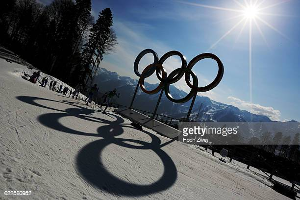The XXII Winter Olympic Games 2014 in Sotchi Olympics Olympische Winterspiele Sotschi 2014 The olympic rings at Cross Country stadium