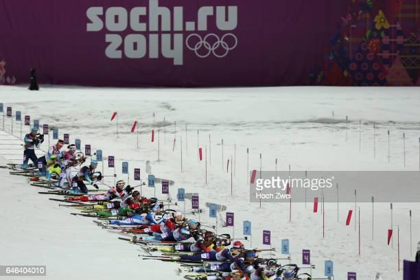 The XXII Winter Olympic Games 2014 in Sotchi Olympics Olympische Winterspiele Sotschi 2014 Women's 125km Mass Start Biathlon