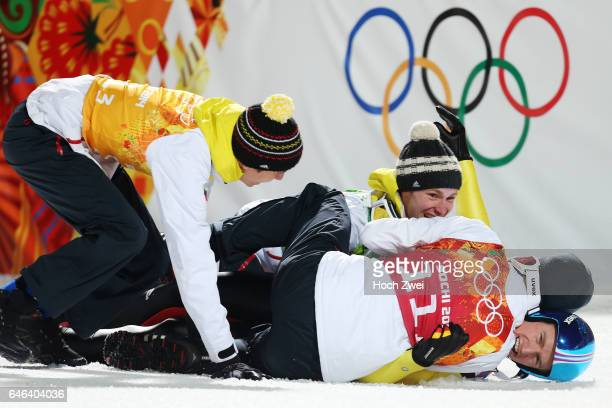 The XXII Winter Olympic Games 2014 in Sotchi Olympics Olympische Winterspiele Sotschi 2014 Men's Team Ski Jumping Andreas Wank Marinus Kraus Andreas...
