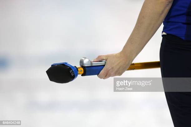 The XXII Winter Olympic Games 2014 in Sotchi Olympics Olympische Winterspiele Sotschi 2014 Curling competition Besen equipment Ausruestung...