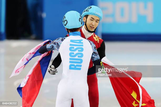 The XXII Winter Olympic Games 2014 in Sotchi Olympics Olympische Winterspiele Sotschi 2014 Men's 500m Short Track Finals Victor An / RUS Dajing Wu /...