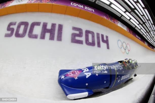 The XXII Winter Olympic Games 2014 in Sotchi Olympics Olympische Winterspiele Sotschi 2014 Fourman Bobsleigh Heat 2 Edson Bindilatti Odirlei Pessoni...