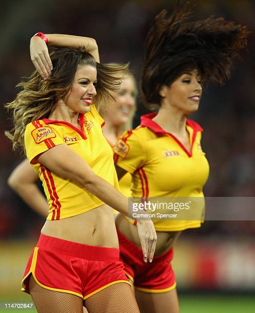 The XXXX Angels perform prior to game one of the ARL State of Origin series between the Queensland Maroons and the New South Wales Blues at Suncorp...