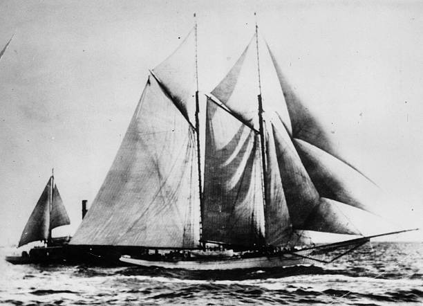 The yacht 'America' which won first won the trophy...