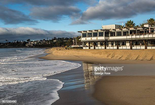 The Yacht Club continues to survive the high surf and tides as viewed on January 20 in Santa Barbara California Because of its close proximity to...
