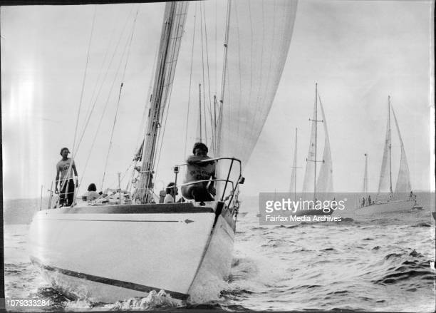 The yachts in the Whitbread RoundtheWorld race leave Sydney Harbour on their way to RioThe Italian sloop Guia near the front of the fleet December 29...