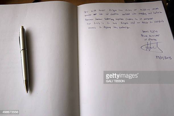 The Yad Vashem guest book signed by Greek Prime Minister Alexis Tsipras on November 25 2015 during his visit to the Yad Vashem Holocaust Memorial...