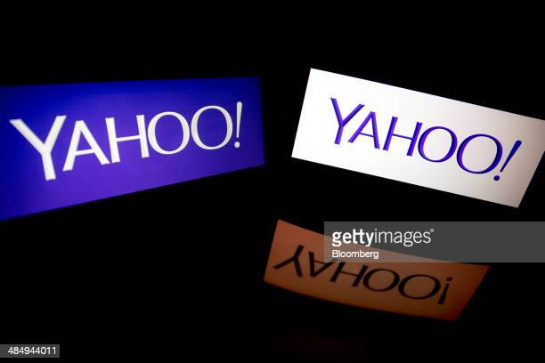 The Yahoo Inc logo is displayed on laptop computers in this arranged photograph in Washington DC US on Tuesday April 15 2014 Yahoo Inc expected to...