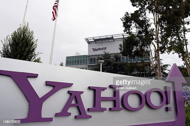 The Yahoo logo is displayed in front of the Yahoo headqarters on July 17 2012 in Sunnyvale California Yahoo will report Q2 earnings one day after...