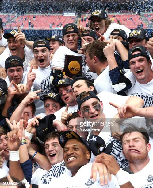 The Yale Bulldogs celebrate after defeating the Duke Blue Devils 1311 in the 2018 NCAA Division I Men's Lacrosse Championship game at Gillette...