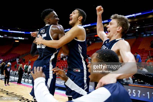 The Yale Bulldogs celebrate after defeating the Miami Hurricanes during the HoopHall Miami Invitational at American Airlines Arena on December 1 2018...