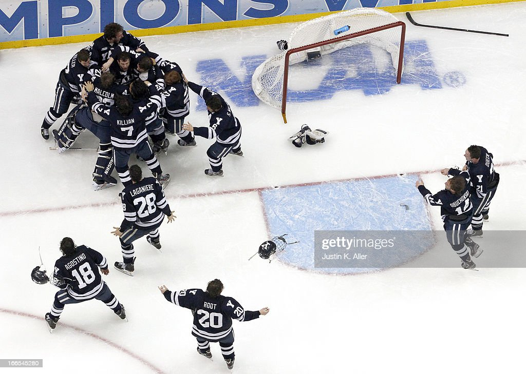 The Yale Bulldogs celebrate after defeating the Quinnipiac Bobcats in the Men's Ice Hockey National Championship game at Consol Energy Center on April 13, 2013 in Pittsburgh, Pennsylvania.