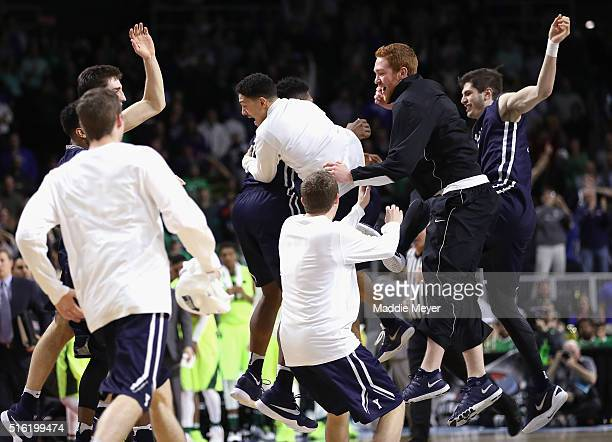 The Yale Bulldogs celebrate defeating the Baylor Bears 79-75 during the first round of the 2016 NCAA Men's Basketball Tournament at Dunkin' Donuts...