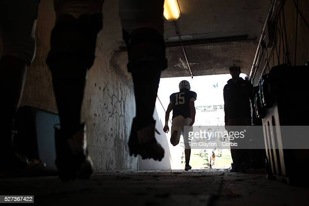 The Yale players head down the tunnel for the second half during the Yale V Army Football match at Yale Bowl New Haven Yale won the match 4943 in...