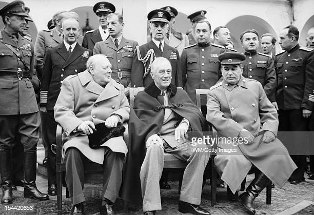 The Yalta Conference Winston Churchill Franklin D Roosevelt and Jospeh Stalin sit for photographs during the Yalta Conference in February 1945