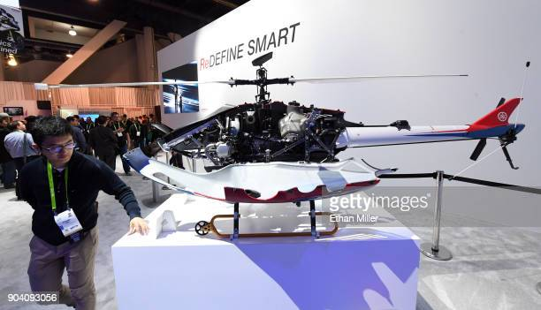 The Yamaha Fazer R combustible engine industrialuse unmanned helicopter is displayed at the Yamaha booth during CES 2018 at the Las Vegas Convention...