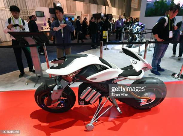 The Yamaha MOTOROiD concept motorcycle is displayed at the Yamaha booth during CES 2018 at the Las Vegas Convention Center on January 11 2018 in Las...