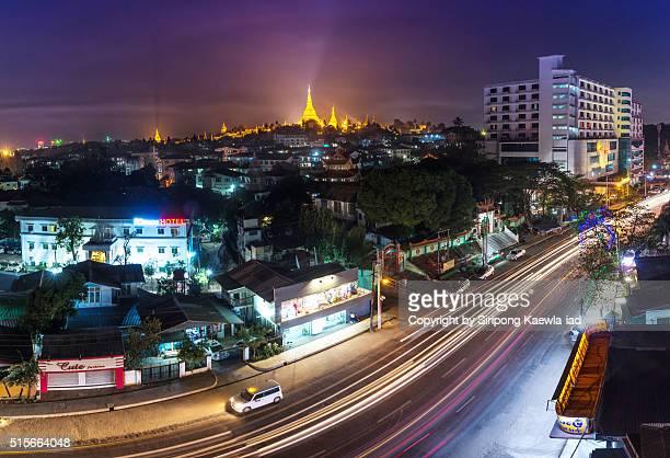 The Yangon city with Shwedagon pagoda in background