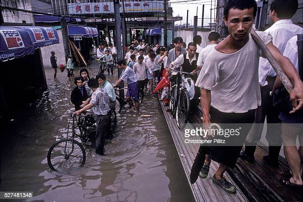 The Yangtze river regularly floods its banks in the summer months Wuhan city China