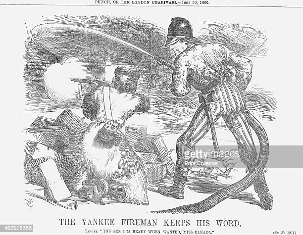 'The Yankee Fireman keeps his Word' 1866 President Andrew Johnson in his fireman's helmet and stars and stripes uniform is seen turning the hose on...