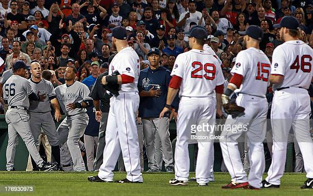 The Yankees' Alex Rodriguez was hit by a pitch from Red Sox starter Ryan Dempster which caused home plate umpire Brian O'Nora to issue warnings to...