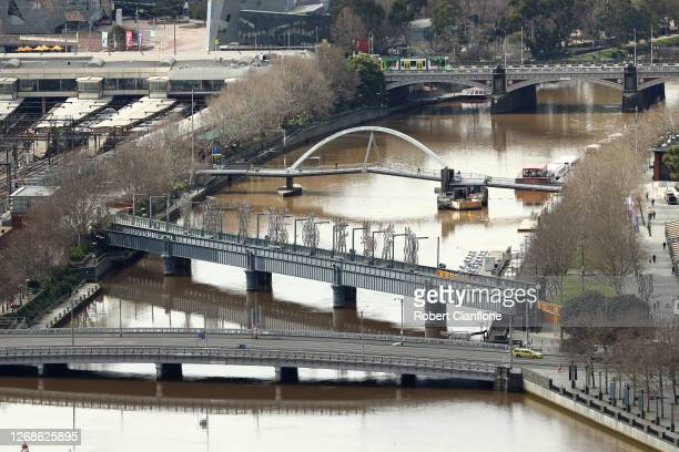 The Yarra River is seen at Southbank on August 26, 2020 in Melbourne, Australia. Melbourne is in stage four lockdown for six weeks until September 13...