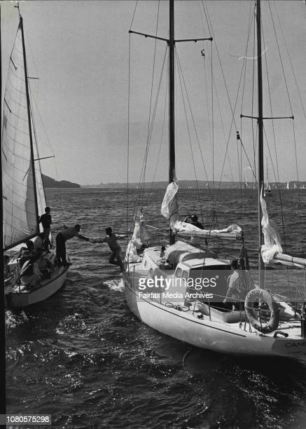 The yawl sailing down Sydney HarbourFour Italian born Australians today left Rushcutters Bay to sail their 41 foot sloop Camira for a round the world...