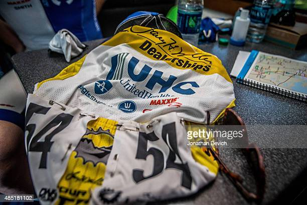 The yellow jersey sits waiting to be worn during stage 2 of the Tour of Utah on August 4 2015 in Tremonton Utah