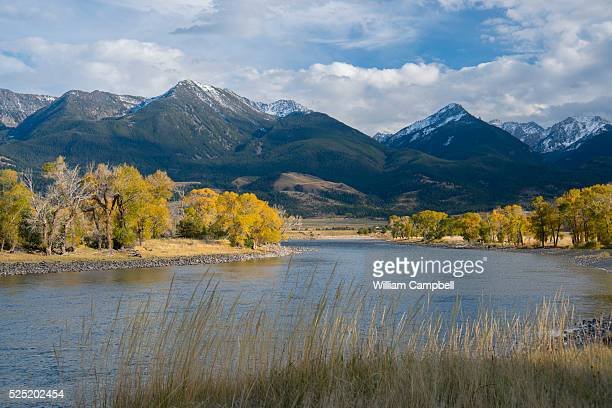 The Yellowstone River runs through Paradise Valley Montana with the Absaroka Mountains in the background