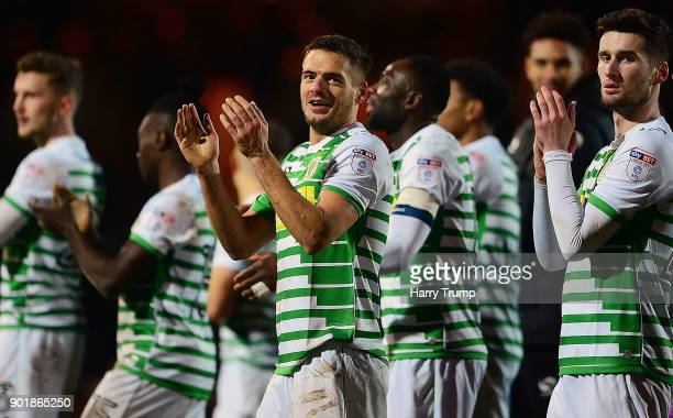 The Yeovil Town side celebrate victory at the final whistle during The Emirates FA Cup Third Round match between Yeovil Town and Bradford City at...