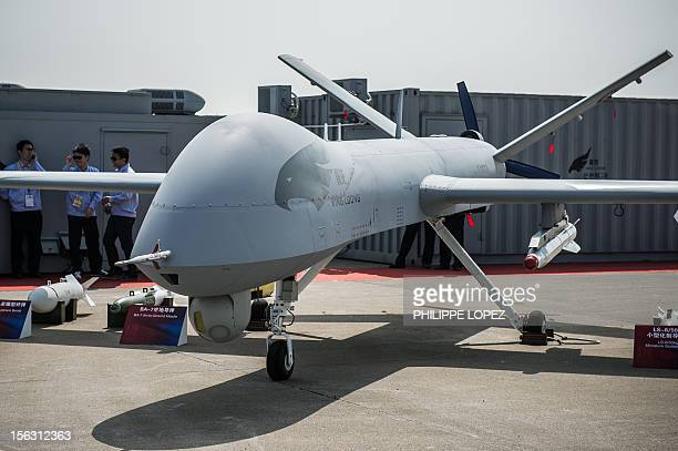 The 'Yi Long' drone by China Aviation Industry Corporation is displayed during the 9th China International Aviation and Aerospace Exhibition in...